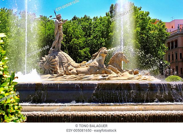 Madrid Neptuno fountain in Paseo de la Castellana