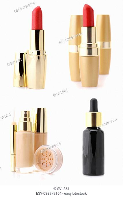 Set of assorted cosmetic products isolated on white background: serum, foundation, concealer, powder and lipsticks