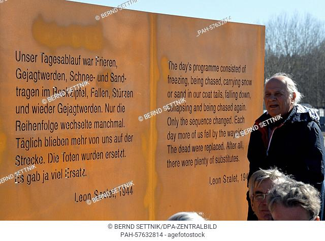 A commemorative stone is seen during a memorial ceremony in Oranienburg, Germany, 20 April 2015. The Geschichtspark (lit