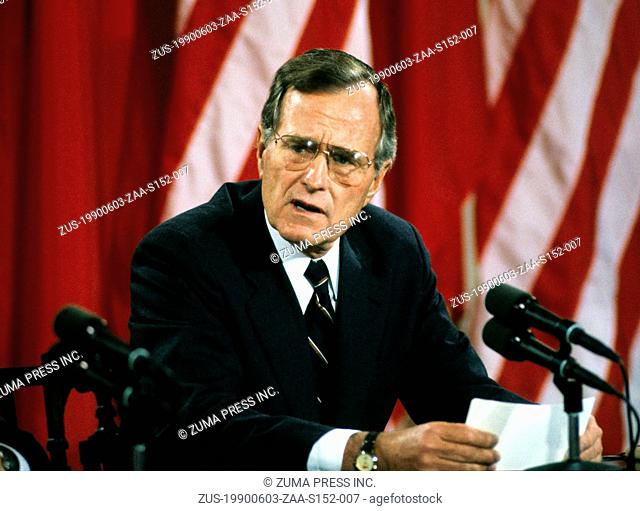 June 3, 1990 - Washington, District of Columbia, U.S. - United States President GEORGE H.W. BUSH makes remarks during a joint press conference with President...
