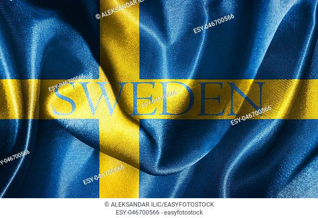 Sweden National Flag With Country Name Illustration