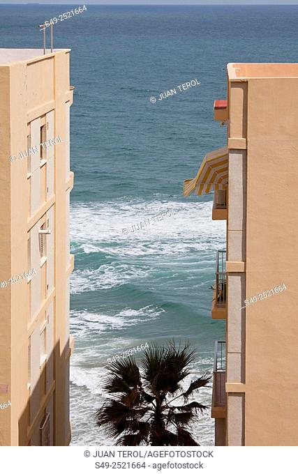Buildings and the sea, Cullera, Valencia, Spain