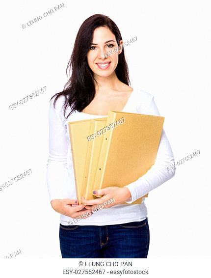 Brunette woman hold with folder