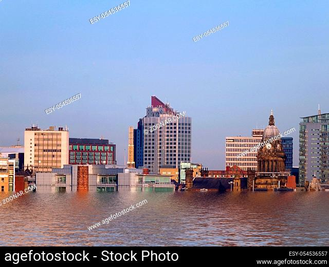 A conceptual cityscape view of leeds showing the buildings and city hall after flooding due to global warming