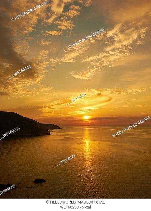 Sunset over the coast of Cape Breton Island, Nova Scotia, Canada