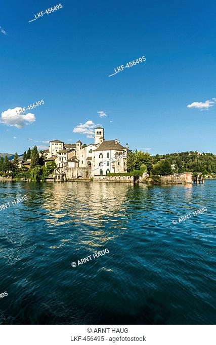View over Lake Orta to Isola San Giulio, Piedmont, Italy