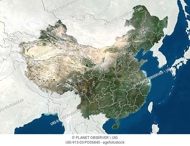 Satellite view of China with boundaries of provinces. This image was compiled from data acquired by Landsat satellites