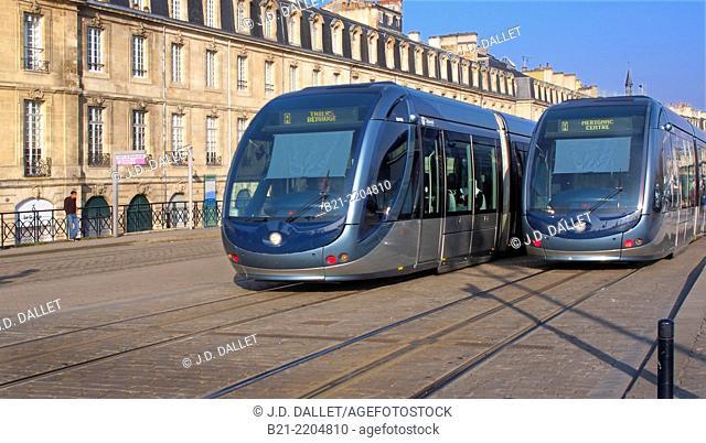 Tramway at Porte de Bourgogne, at Bordeaux, Gironde, Aquitaine, France