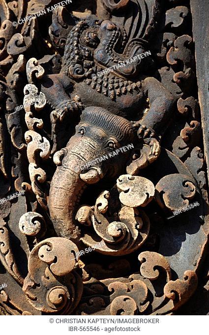 Elephant depiction, Banteay Srei Temple, Angkor Wat, Siem Reap, Cambodia