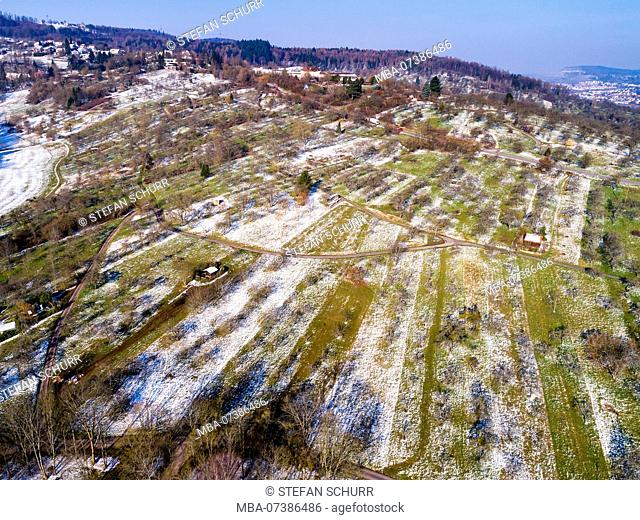 Aerial view, spring, snow remains at the orchards Winterbach, Baden-Wuerttemberg, Germany