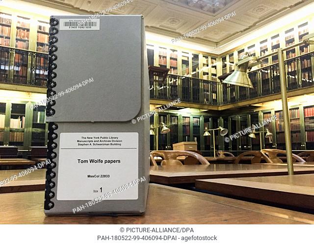 17 March 2016, USA, New York: A box with archive material of the writer Tom Wolfe standing in the Public Library. The American author died aged 88 on 14 May...