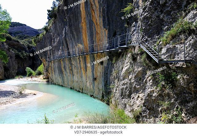Rio Vero Canyon, walkway route (Ruta de las pasarelas) near Alquezar. Sierra y Cañones de Guara Natural Park, Huesca province, Aragon, Spain