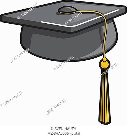 A graphic illustration of a graduation hat