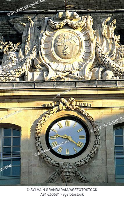 City hall clock. Dijon. Cote d'Or. Burgundy. France