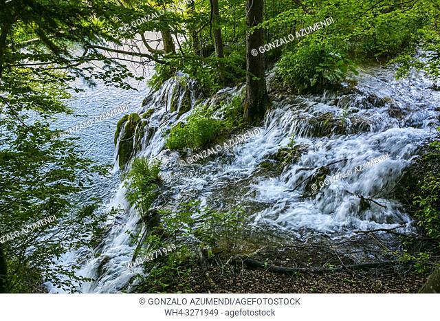 Plitvice Lakes National Park. Lika Plješivica mountain range . The park falls within two counties Lika-Senj and Karlovac