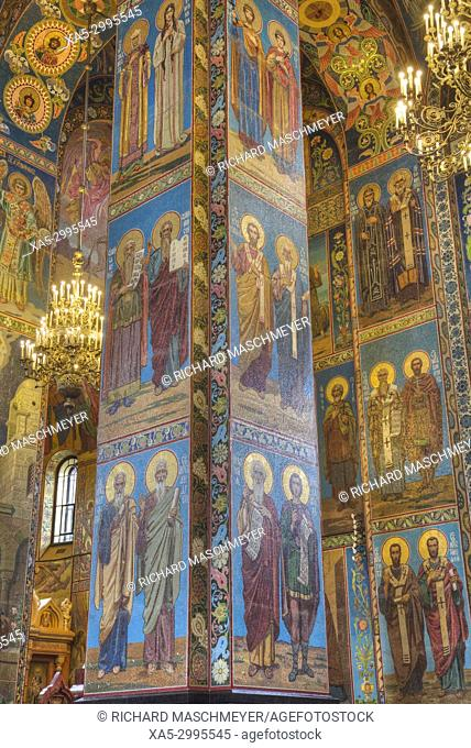 Wall Frescoes, Church of the Savior on Spilled Blood, UNESCO World Heritage Site, St Petersburg, Russia