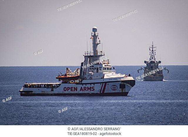 A view of Spanish humanitarian ship Open Arms, with 147 migrants on board, in the immediate vicinity of Lampedusa, southern Italy, 17 August 2019