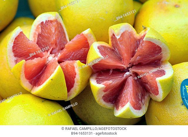 Grapefruit. Sunday market. Puigcerdà, capital of the Catalan comarca of Cerdanya, in the province of Girona, Catalonia, northern Spain