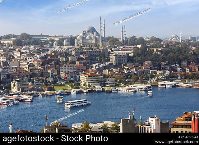 Istanbul, Turkey. View across the Golden Horn to the Suleymaniye Mosque and port of Eminonu