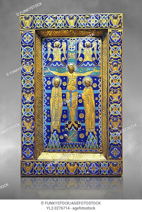 Medieval enamelled panel depicting the Crucifixion, end of 12th cent from Limoges, enamel on gold. AD. Inv OA 7285, The Louvre Museum, Paris