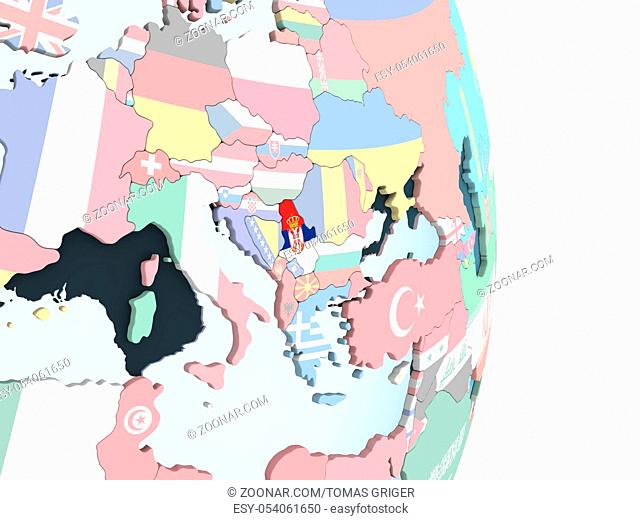 Serbia on bright political globe with embedded flag. 3D illustration