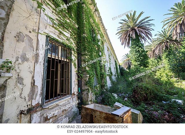 Abandoned hotel in former Tourist Complex of Kupari village, Croatia