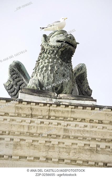Venice, Veneto, Italy: The famous ancient winged lion sculpture