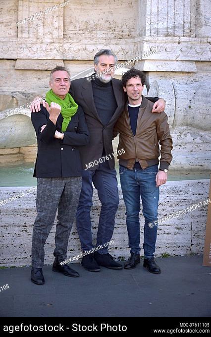 Italian actors Massimo Ghini, Max Tortora and Francesco Montanari at the presentation of the film La volta buona. Rome (Italy), March 4th, 2020
