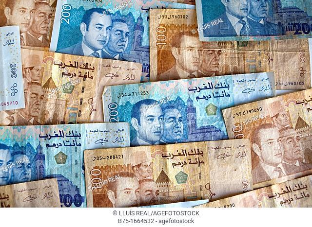 Dirham marroqui, rey de marruecos, moneda africana, moneda marroqui, dinero, moneda, divisa, primer plano, valor, economia, cotizacion, mercado, compra venta
