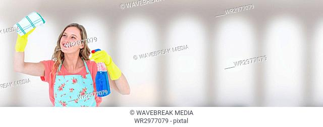 Cleaner with spray and cloth with bright background