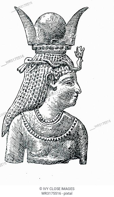 This illustration that dates to around 1898 shows the Middle Eastern goddess Astarte with a horned headdress. She was a form of the ancient Sumerian goddess of...