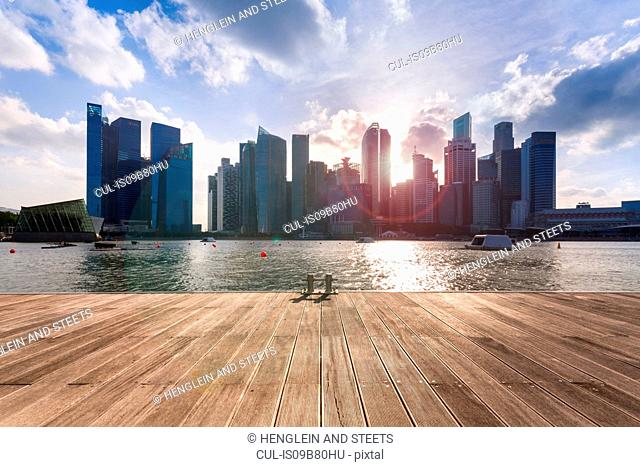 Waterfront view of city skyline, Singapore, South East Asia