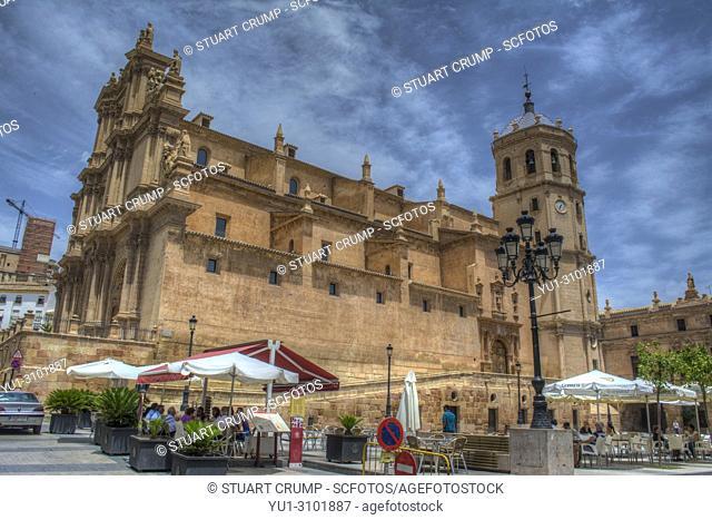HDR image of the colegiata de San Patricio church in the plaza de espana in Lorca Murcia Spain