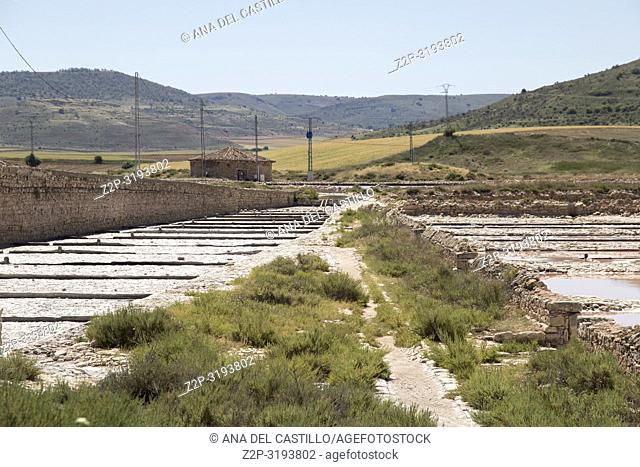 Old salt fields in Imon Guadalajara province Castile La Mancha Spain