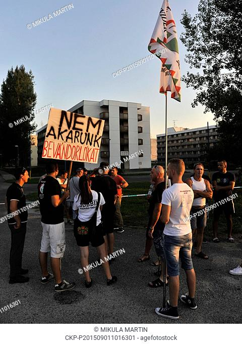 Supporters of the Hungarian right wing extremists protested against immigrants in Gabcikovo, west Slovakia, September 1, 2015