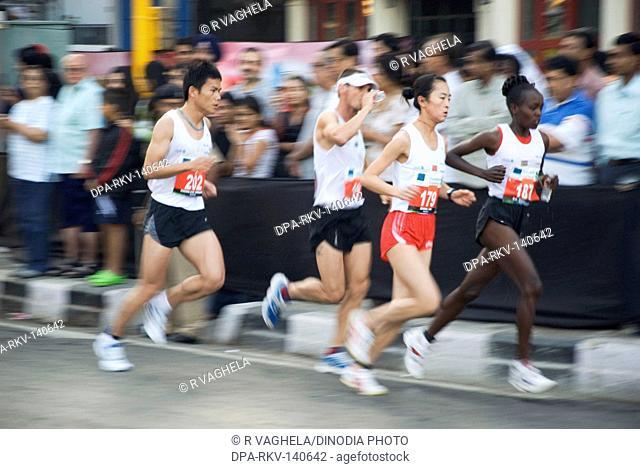 Men participating in Marathon 2008 ; Bombay now Mumbai ; Maharashtra ; India