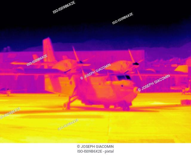 Thermal image of aeroplane on runway