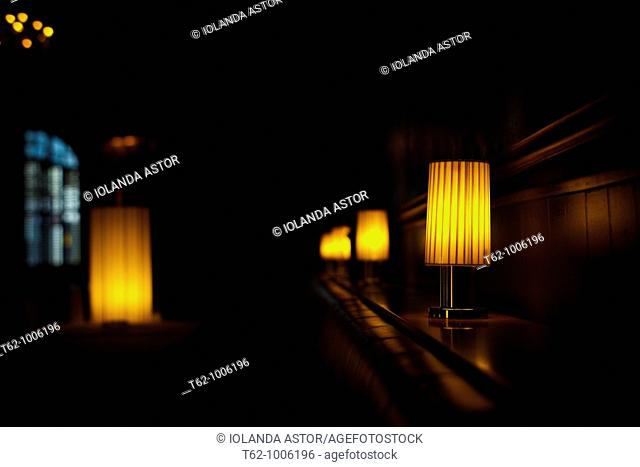 Lighted lamps inside a room