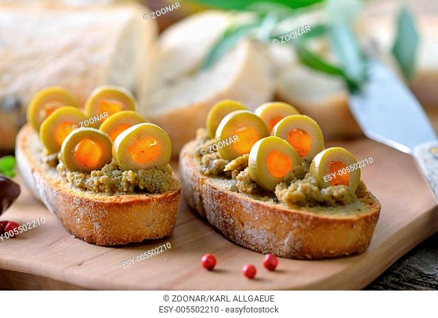 Baguette with olive paste
