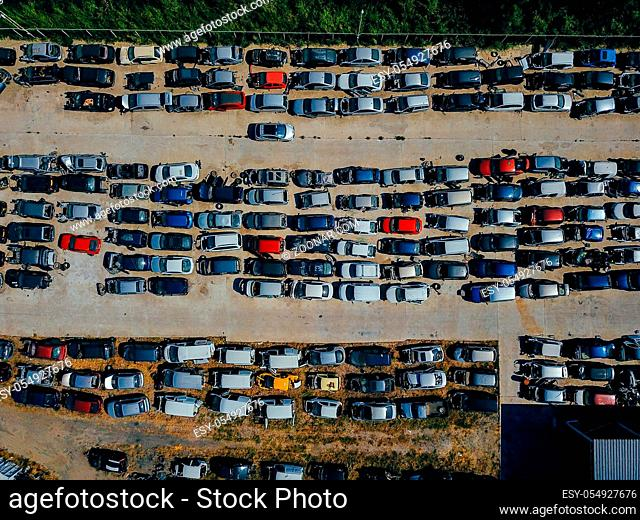 Aerial view of the big car dump, bird's-eye