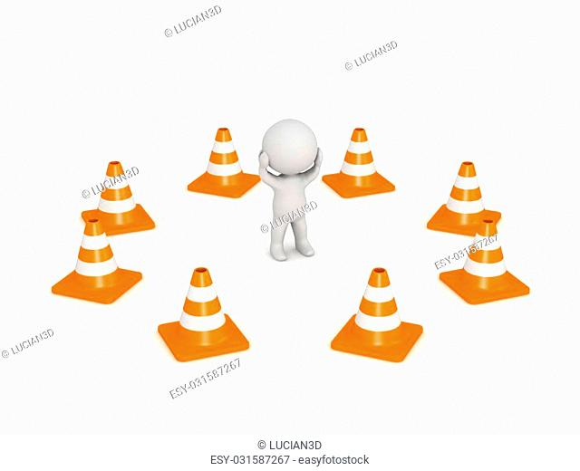 A 3D character stressed surrounded by orange road cones. Isolated on white background