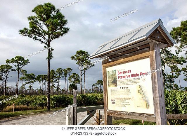 Florida, Port Saint St. Lucie, Savannas Preserve State Park, sign, Slash Pine trees, flatwoods, basin marsh, scrubby flatwoods, wet prairie