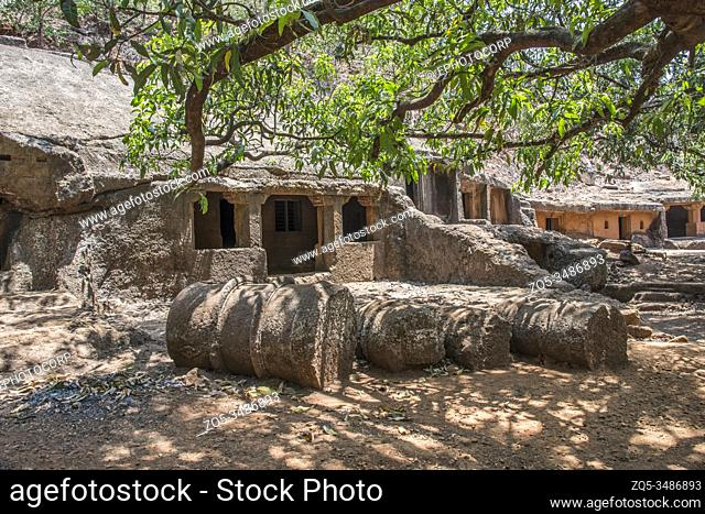 Panhale Kaji or Panhalakaji Caves, District- Sindhudurg, Maharashtra, India : Fallen Votive stupas in front of Cave Nos. 5 and 6