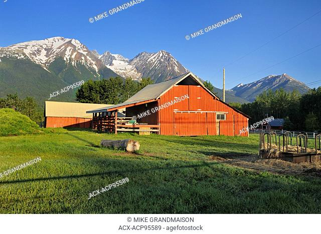 Red barn and Coast Mountains Smithers British Columbia Canada