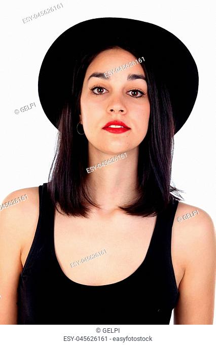 Young woman with black hat and clothes isolated on a white background