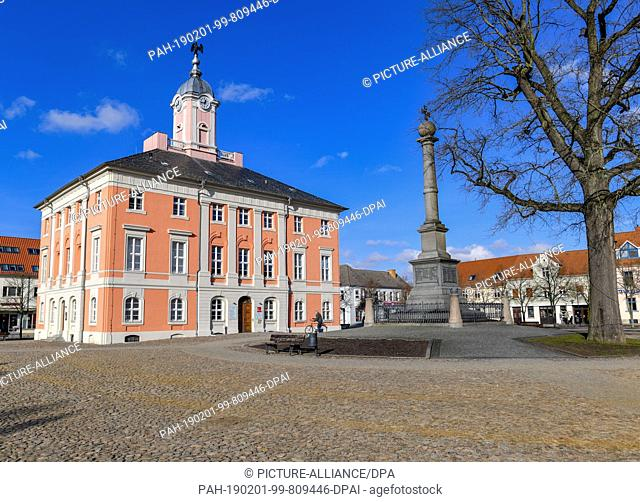 30 January 2019, Brandenburg, Templin: The historical town hall on the market square. At the New Year's reception of the Uckermärkischen city Templin on 08