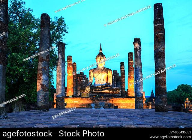 Sunrise Twilight Buddha Statue in Wat Mahathat Temple in Sukhothai Historical Park Thailand
