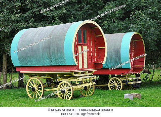 Wagons of the Traveller minority, Bunratty Folk Park, Ennis, Shannon Region, Ireland, Europe