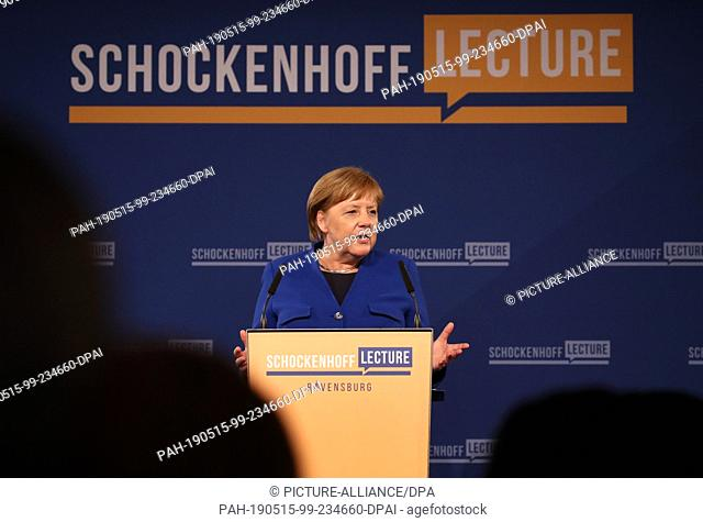 15 May 2019, Baden-Wuerttemberg, Ravensburg: Chancellor Angela Merkel (CDU) speaks at the premiere of the Dr. Andreas Schockenhoff Lecture