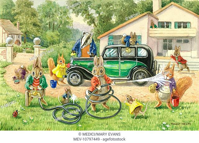 'Cleaning Mr Badger's Car' - badger, rabbits, squirrels and mice with hose pipe, buckets, sponges etc